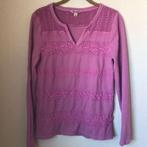 Lucky Brand Embroidered Long Thermal Top